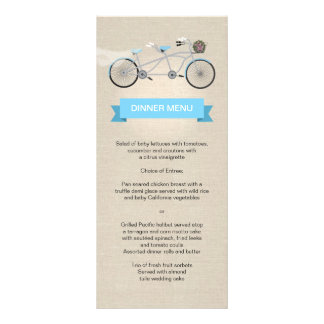 Tandem Bicycle Wedding Menu Faux Linen Rack Card Template