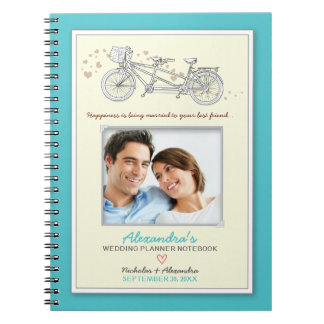 Tandem Bicycle Wedding Planner Notebook (aqua)
