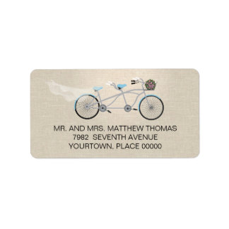 Tandem Bicycle Wedding Return Address Label
