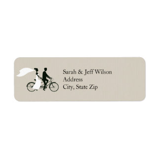 Tandem Bicycle Wedding Return Address Labels