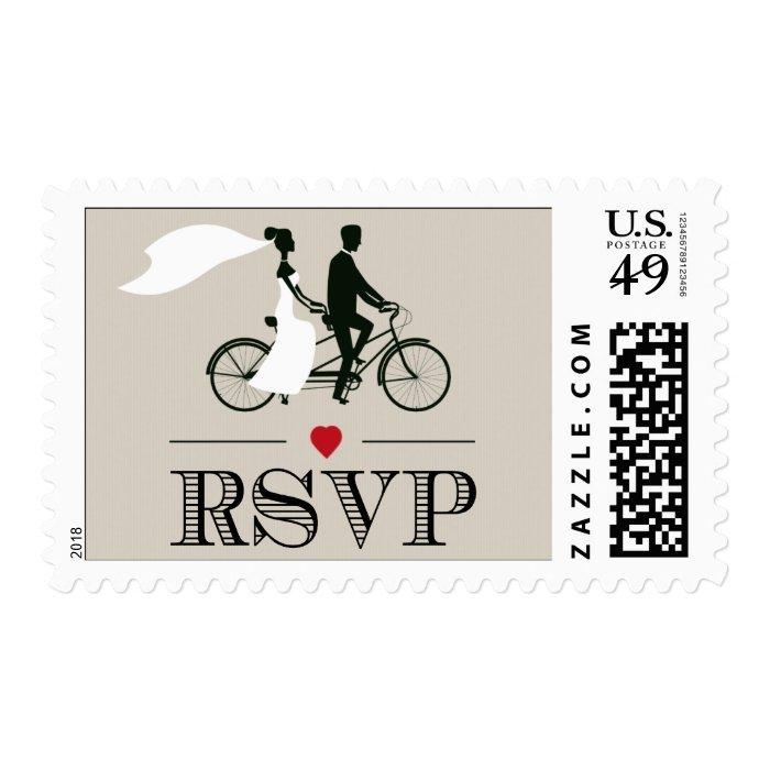 Tandem bicycle wedding rsvp stamps zazzle for Wedding rsvp cards stamps