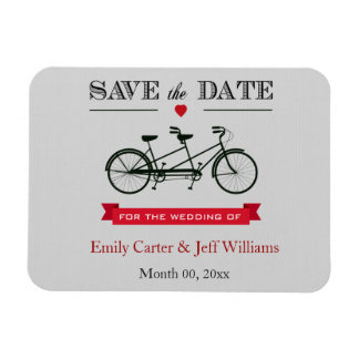 Tandem Bicycle Wedding Save the Date Magnets