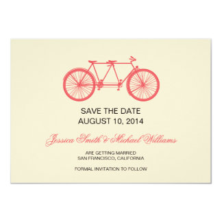 Tandem Bicycle Wedding Save The Date Pink Ecru 4.5x6.25 Paper Invitation Card