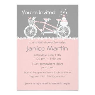 "Tandem Bicycle Wedding Shower Invitation 5"" X 7"" Invitation Card"