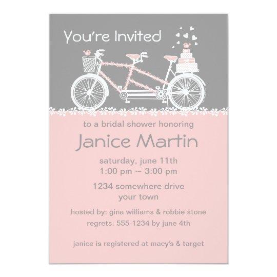 Tandem Bicycle Wedding Shower Invitation