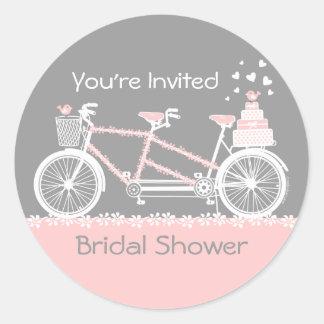 Tandem Bicycle Wedding Shower Sticker