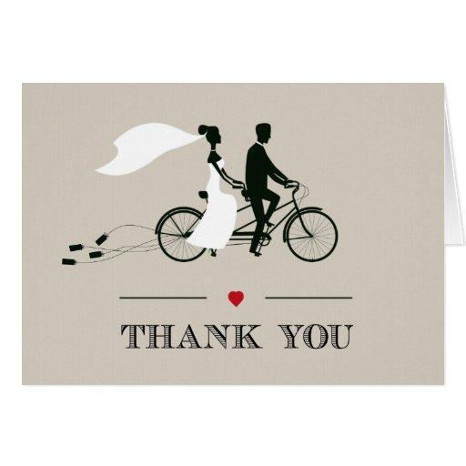 Tandem Bicycle Wedding Thank You Greeting Card