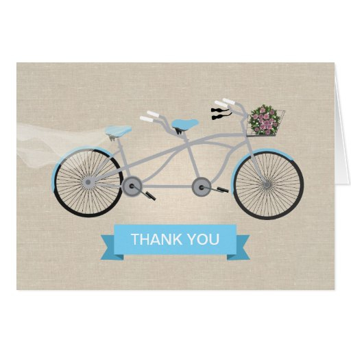 Tandem Bicycle Wedding Thank You Greeting Cards