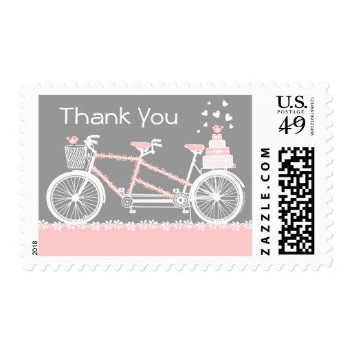 Tandem Bicycle Wedding Thank You Postage