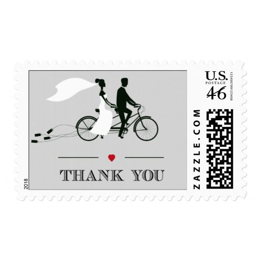 Tandem Bicycle Wedding Thank You Stamps