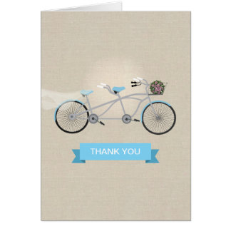 Tandem Bicycle Wedding Thank You Stationery Note Card