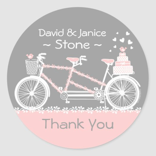 Tandem Bicycle Wedding Thank You Sticker