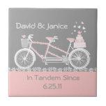 Tandem Bicycle Wedding Tile Trivet