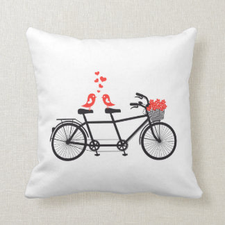 tandem bicycle with cute love birds and red hearts pillow