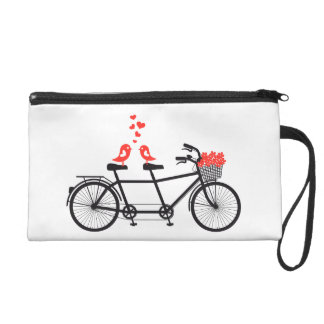 tandem bicycle with cute love birds and red hearts wristlet purse