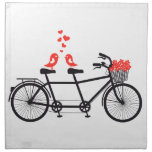tandem bicycle with cute love birds cloth napkins