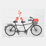 tandem bicycle with cute love birds kitchen towel