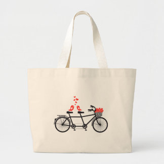 tandem bicycle with cute love birds large tote bag