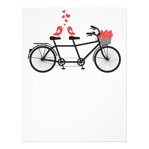 tandem bicycle with cute love birds letterhead