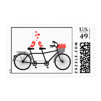 tandem bicycle with cute love birds postage stamps