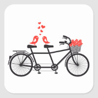 tandem bicycle with cute love birds square sticker