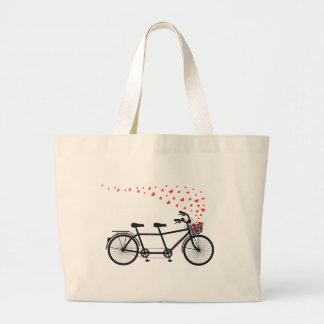 tandem bicycle with red hearts large tote bag