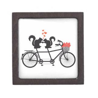 tandem bicycle with squirrels keepsake box