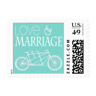 Tandem Bicycles Love and Marriage Stamp