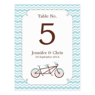 Tandem Bike (Blue Chevron) Table Number Postcard