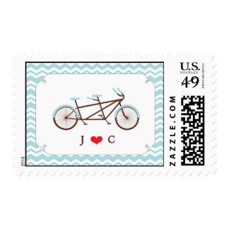 Tandem Bike (Blue Chevron) Wedding Postage