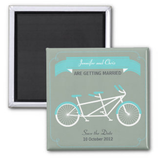 Tandem Bike (Blue / Gray) Save the Date 2 Inch Square Magnet