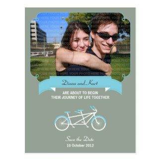 Tandem Bike (Blue / Gray) Save the Date Photo Postcard