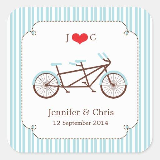 Tandem Bike (Blue Stripes) Favor Sticker