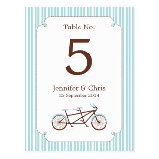 Tandem Bike (Blue Stripes) Table Number Postcard