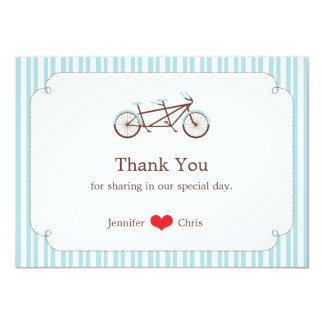 Tandem Bike (Blue Stripes) Thank You 4.5x6.25 Paper Invitation Card