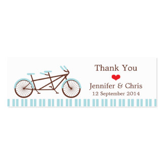 Tandem Bike (Blue Stripes) Wedding Favor Tags Double-Sided Mini Business Cards (Pack Of 20)