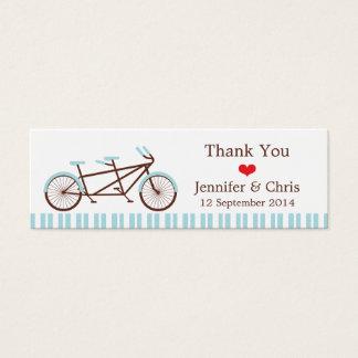 Tandem Bike (Blue Stripes) Wedding Favor Tags Mini Business Card