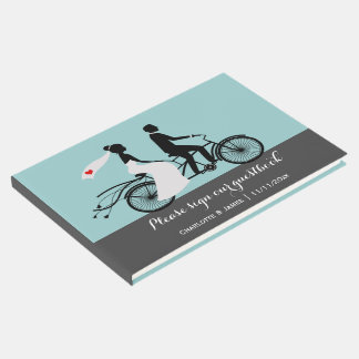Tandem Bike Bride And Groom Wedding Personalized Guest Book