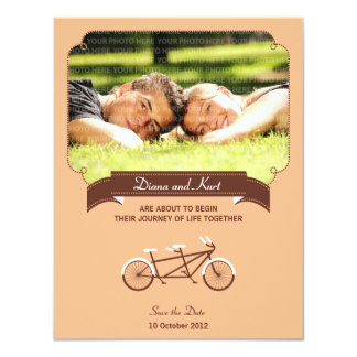 Tandem Bike (Coral) Save the Date Photo Personalized Invitations