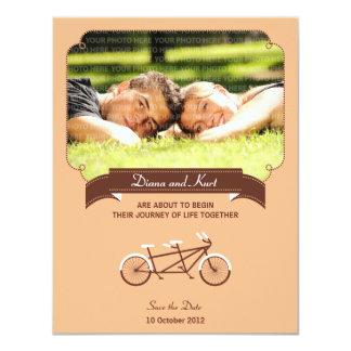 Tandem Bike (Coral) Save the Date Photo 4.25x5.5 Paper Invitation Card
