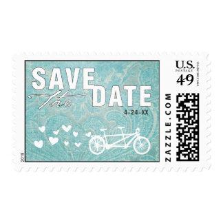 Tandem Bike Damask Save the Date Stamp