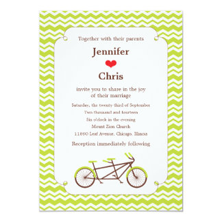 Tandem Bike (Green Chevron) Wedding 5x7 Paper Invitation Card