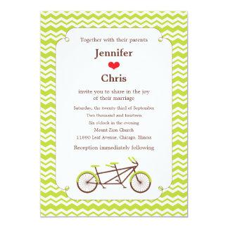 Tandem Bike (Green Chevron) Wedding Personalized Announcement