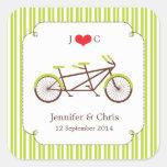 Tandem Bike (Green Stripes) Favor Sticker