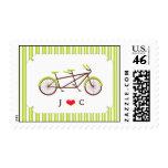 Tandem Bike (Green Stripes) Wedding Postage