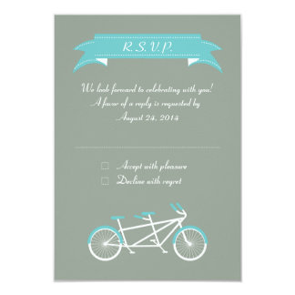 Tandem Bike (Grey / Blue) RSVP 3.5x5 Paper Invitation Card