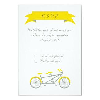 Tandem Bike (Grey / Yellow / White) RSVP 3.5x5 Paper Invitation Card