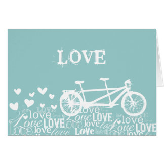 Tandem Bike Love White and Aqua Card