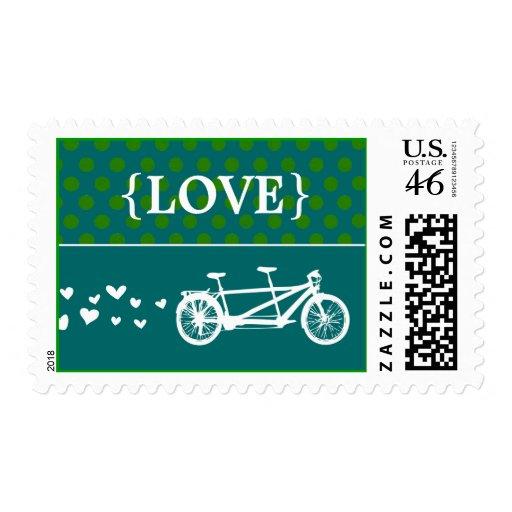 Tandem Bike Polka Dot Love Stamp
