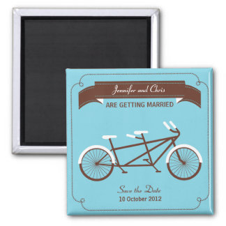 Tandem Bike (Sky Blue / Brown) Save the Date 2 Inch Square Magnet
